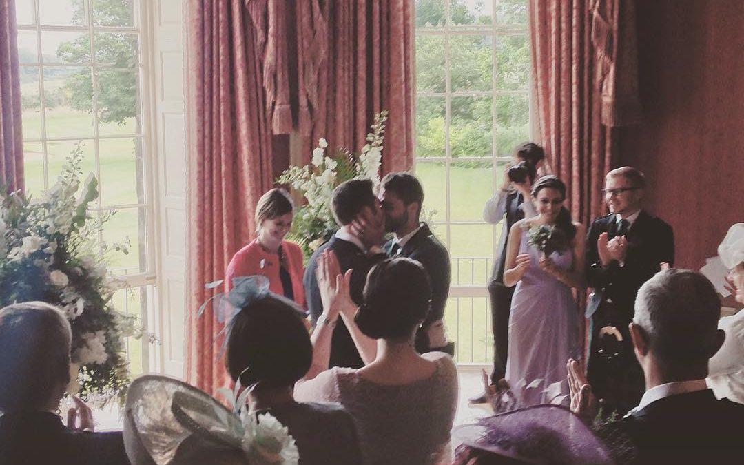 Chris and Matt's humanist wedding at Archerfield House